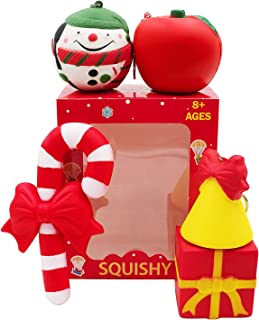 Christmas Squishies Pack Toddler Toy – CREFUN Gifts for Christmas Tree Ornament, Kid Toy, Stress Relief, Including 5 Pcs: Candy Cane Bell Gift Bag Apple Snowman Ball, Super Slow