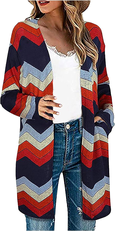 Woman's Fashion Jacket Coat Casual Printing Long Sleeve Cardigan Comfortable Tops Coat