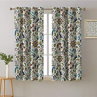 Bevis Trevelyan Window Curtain 2 Panel Cartoon Nautical Seamless Pattern Light Curtain 63 x 63 inch