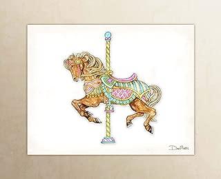 Carousel Horse Brown Watercolor Unframed Art Print by Dan Morris
