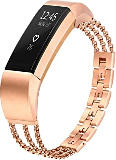 Morning Tree Compatible with Fitbit Alta & Alta HR Band, Small Large Stainless Steel Metal Jewelry Replacement Silver Elegant Dressy Adjustable Bracelet Accessories Wristband Strap Gift for Women Girl