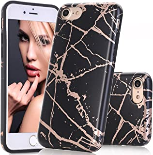 BAISRKE Shiny Rose Gold Marble Design Clear Bumper Matte TPU Soft Rubber Silicone Cover Phone Case Compatible with iPhone 7 (2016) / iPhone 8 (2017) [4.7 inch] - Black