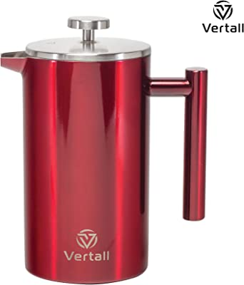 Vertall Large French Press Coffee Maker 34oz Stainless Steel With Tablespoon Scoop