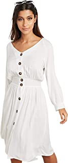 Button Front V Neck Midi Women's Dress with Belt Tie Up