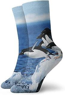tyui7, Penguin Winter Blue Calcetines antideslizantes de compresión Cosy Athletic 30cm Crew Calcetines para hombres, mujeres, niños