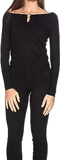 Jersey con Cuello de Barco, Color Negro