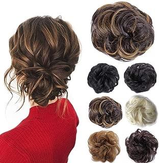 Hair Bun Hairpieces Scrunchies Donut Hair Extensions Synthetic Fiber Hair Messy Bun Chignons Hair (Brown Mix Aubum Blonde)