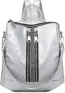 Silver New Zipper Lady Backpack Travel Small Backpacks PU Leather Waterproof Bag Luxury Shoulder Bag