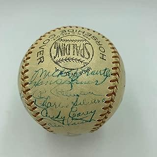 Beautiful 1955 New York Yankees Team Signed Baseball Mickey Mantle PSA DNA COA