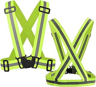 Safety Reflective Vest 2 Pack, Elastic Adjustable, Lightweight 360° High Visibility Green Reflective Vest for Motorcycle, ...