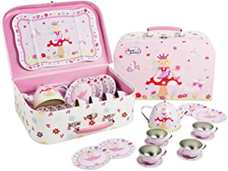 Lucy Locket Fairy Tale Tin Tea Set & Carry Case Toy (14 Piece Kids Tea Set) Pink
