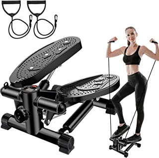 ZHCCCJBOY Fitness Stair Stepper Mini Stepper Step Fitness Machines Adjustable Stair Stepper with Resistance Bands LCD Disp...