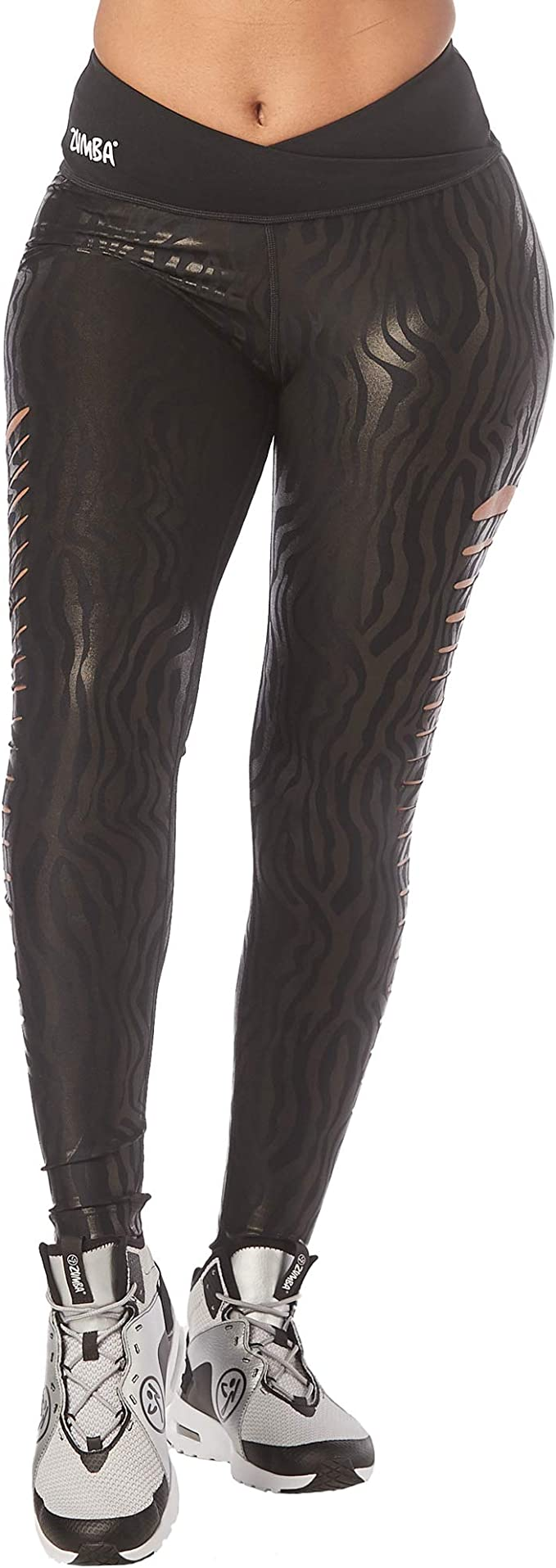 Medium Zumba Celebrate Love Metallic Ankle Leggings Black ~ Small Large