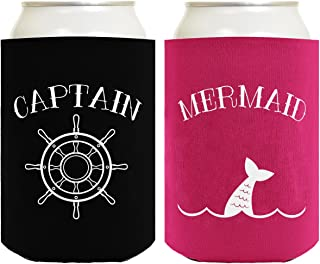 Sailing Gifts Captain Mermaid Bundle Nautical Gifts 2 Pack Can Coolie Drink Coolers Coolies Black Magenta