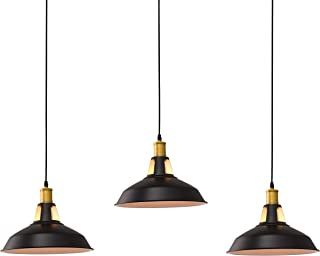 Pack of 3 Pendant Lighting, Industrial Mini Iron Metal Barn Ceiling Kitchen Light (Bulb Not Included)