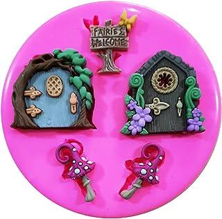 Faries bienvenida hada puertas y seta venenosa molde de silicona para decoración de dulces para tartas