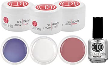 Kit de UV Gel 3 Geles de 15ml + Primer 15ml para uñas de gel / 1 x UV/LED Gel 3 en 1 Trifasico + 1 x UV/LED Ge French Blanco + 1 Gel UV/LED Cover Natural + 1 Primer 15ml