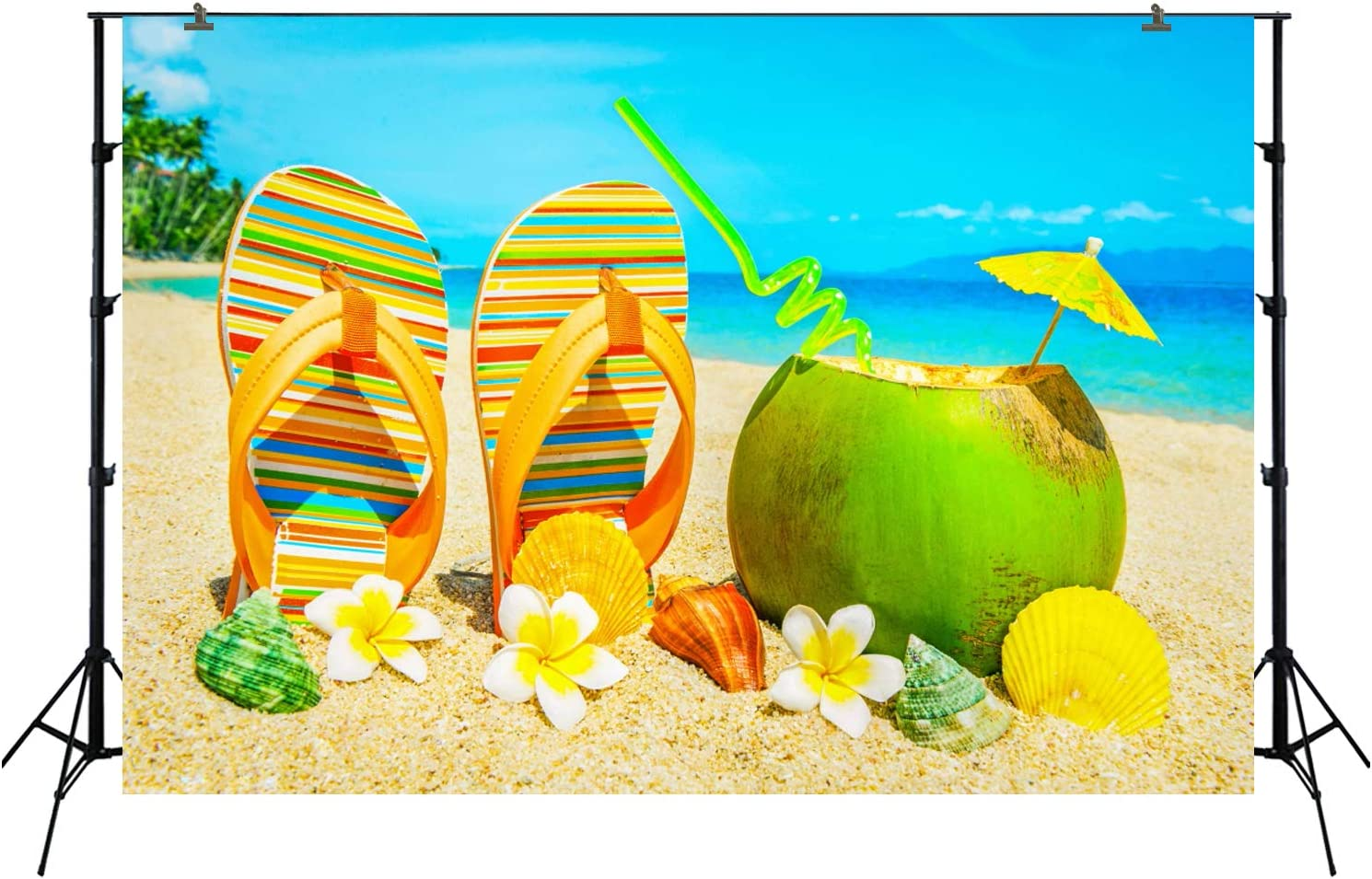 Backdrop for Baby Pictures Summer Themed Photography Background for Kids Birthday Party Photobooth Event Table Decoration Shower Props Surfing Theme and Beach FT-6238