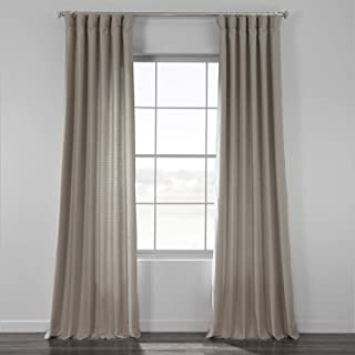 HPD Half Price Drapes BWLK-1854-120 Bark Weave Solid Cotton Curtain, 50 X 120, Stardust Grey