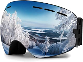 Zerhunt Ski Goggles, Snowboard Goggles Over Glasses, Anti Fog UV Protection Snow Goggles OTG Interchangeable Lens for Men Women Snowmobile, Skiing, Skating