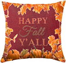 Maple leaf pumpkin happy fall Cotton Linen Throw pillow cover Cushion Case Holiday Decorative 18X18 (2)