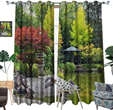 luvoluxhome Thermal Insulated Blackout Curtain Light Blocking Curtains for Living Room/Bedroom Red Tree Near The Green Pond in Japanese Garden in Bonn,Germany