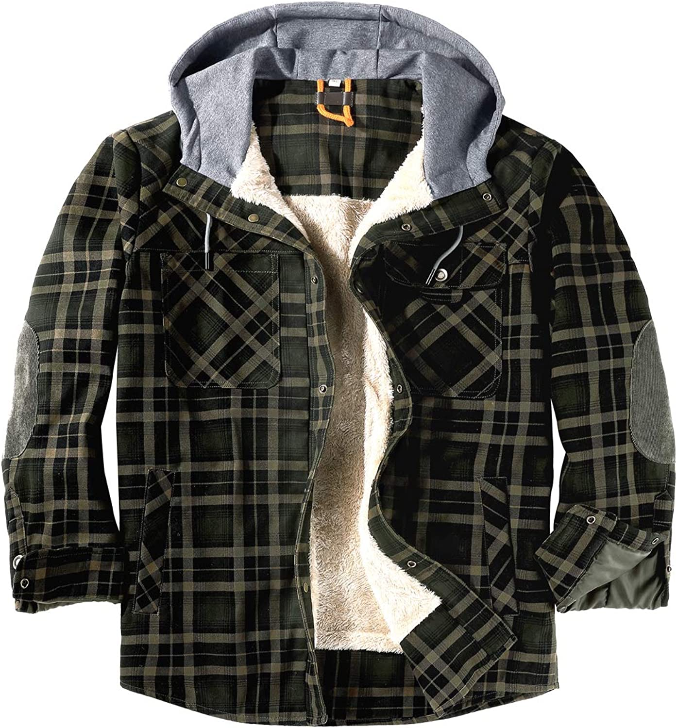 EUSMTD Mens Outdoor Casual Long Sleeve Thick Corduroy Plaid Shirt Jacket with Hood