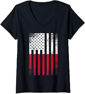 Womens Half Maltese Flag   Vintage American Inside Me USA Gift V-Neck T-Shirt