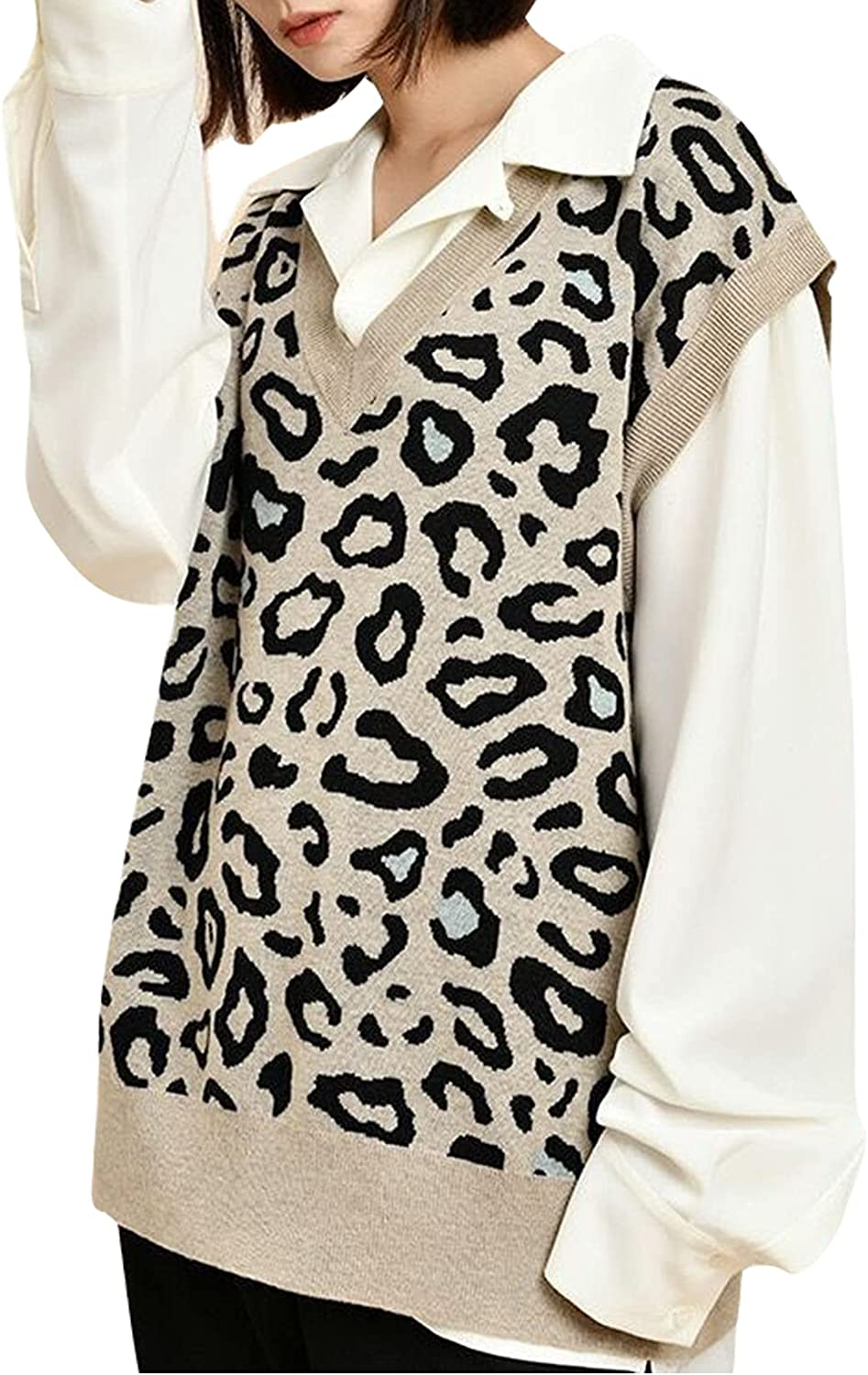 Gihuo Women' s Loose V Neck Leopard Print Sweater Vest Sleeveless Knitted Tops