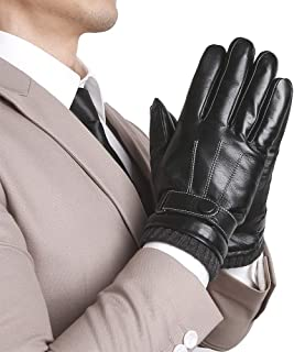 KEGE Men's Winter Warm Texting Driving Touchscreen Italian Nappa Genuine Leather Gloves (Cashmere/Wool or Fleece Lining)