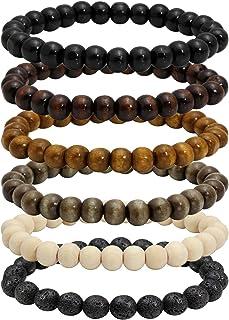 MILAKOO 6 Pcs 8mm Natural Wood Beads Bracelet for Men Women Lava Rock Bracelet for Oil Diffuser