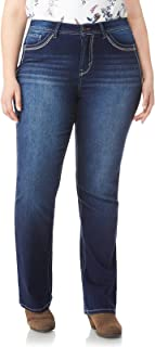 aa0096bf5bb WallFlower Women's Juniors Plus Size Basic Legendary Stretch Bootcut Denim  Jeans