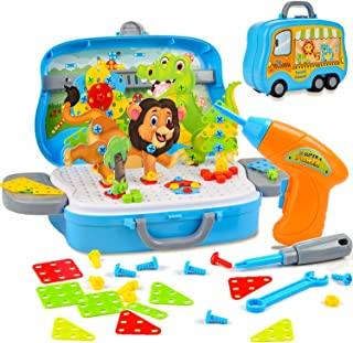 Herefun 329 pcs Mosaïques Puzzle, Mosaique Enfant Puzzle 3D, Jeux de Mosaïque, Assemblage DIY Jouets de Perceuse Électriqu...