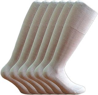 Fontana Calze 6 paia di calze UOMO lunghe in 100% Cotone Filo di Scozia. BIANCO TG 42/44,5