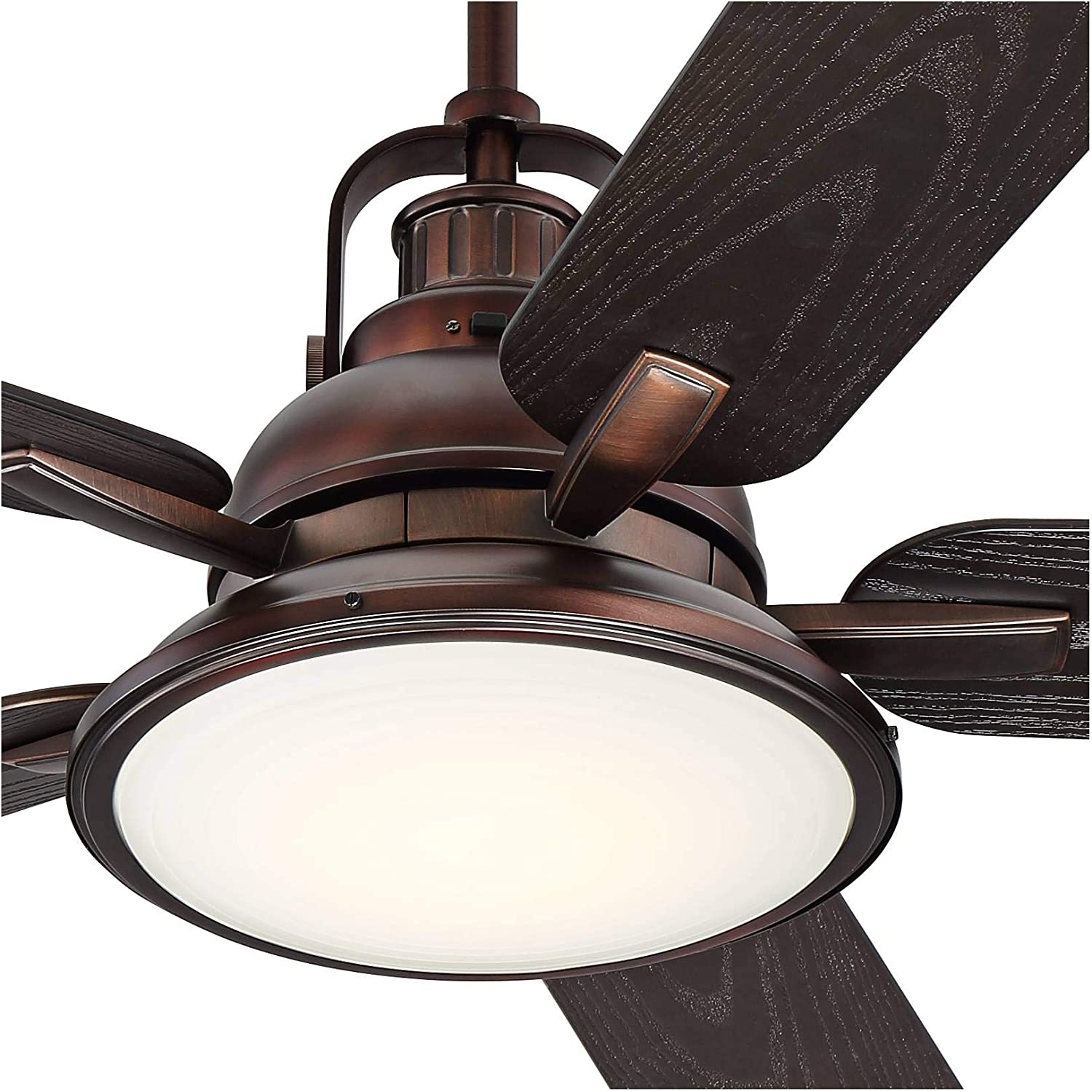 Buy 60 Wind And Sea Industrial Indoor Outdoor Ceiling Fan With Light Led Remote Control Dimmable Oil Brushed Bronze Brown Wet Rated For Patio Exterior House Porch Gazebo Garage Barn Casa
