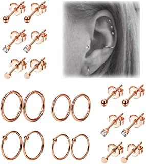 Yaalozei 20G Surgical Steel Daith Rook Earring Curved Barbell Eyebrow Rings Piercing Jewelry for Women Men 6mm 8mm 10mm Length 18pcs