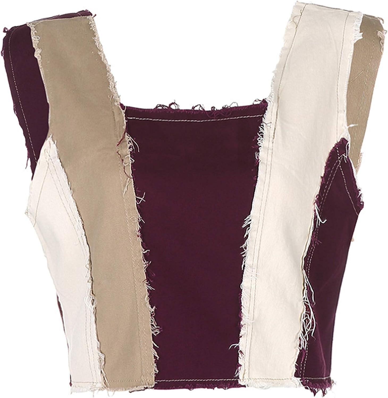 Lentta Women's Fashion Slim Contrast Patchwork Sleeveless Frayed Cropped Denim Vest