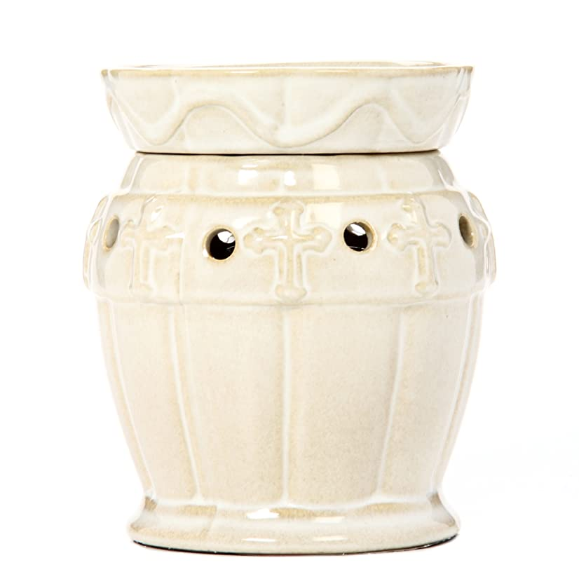 Hosley's Large Cream Ceramic Electric Fragrance Warmer. Ideal Gift for Wedding, Special Occasion, Spa, Aromatherapy, Reiki Use with Hosley Brand Wax Melts / Cubes, Essential Oils, Fragrance Oils W9