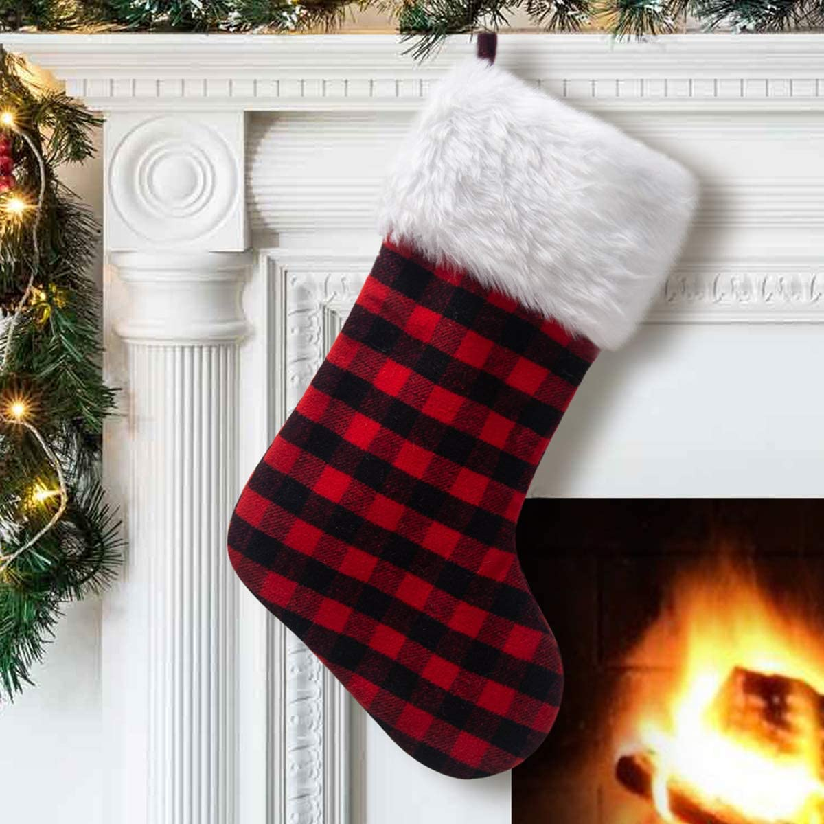 S-DEAL OFFicial site discount Red and Black Plaid Gift Christmas Stocking Double Layers