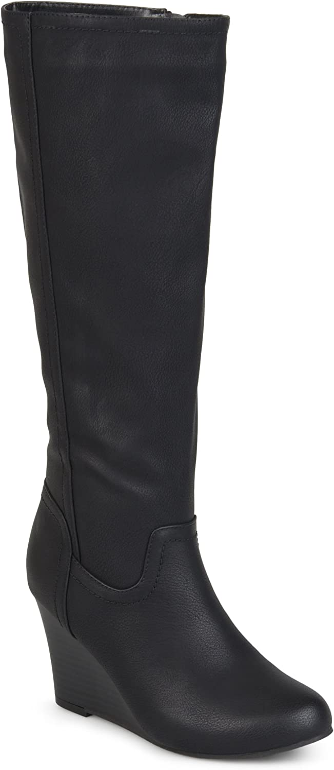 Journee Collection Womens Regular and Wide Calf Round Toe Mid-Calf Wedge Boots