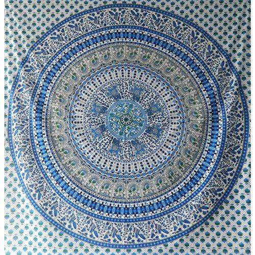 indischerbasar.de Tagesdecke Elefanten Pfau Mandala blau weiß Überwurf Baumwolle
