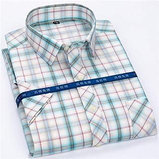 37f8946df5ee5 GKKYU Chemise à Carreaux Nouvelle Arrivée Haute Qualité Carreaux Chemise  Hommes Chemises À Manches Courtes Chemise