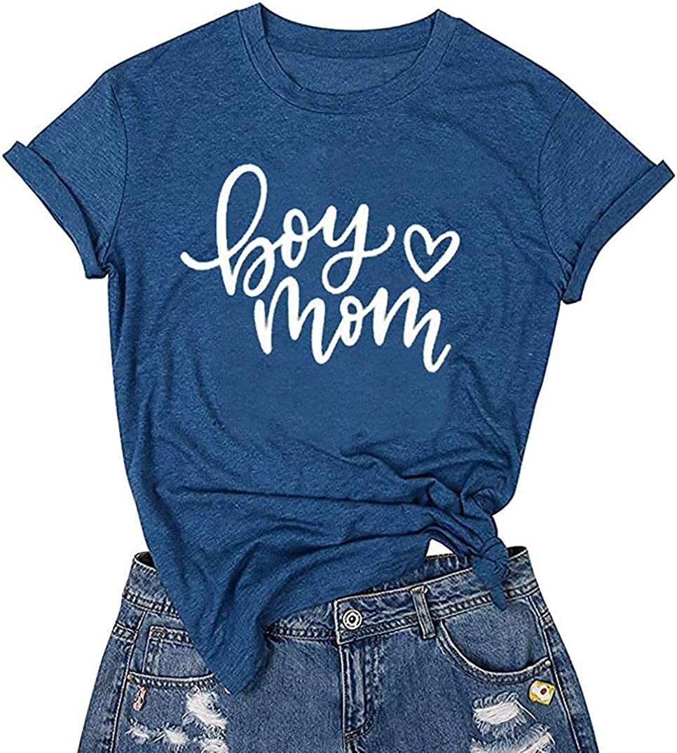 HRIUYI Boy Mom Shirt for Women Plus Size Short Sleeve Mama Funny Graphic Mom Gifts Shirts