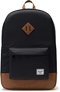 Herschel Men's Heritage Shoulder Bag, Black/Tan Synthetic Leather, One Size