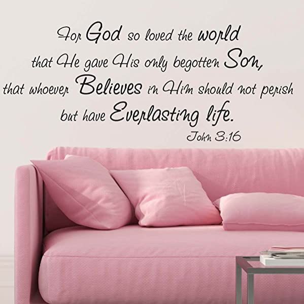 For God So Loved The World Wall Decal Quote Religious Bible Verse John 3 16 Scripture Christian Wall Art Sticker 29in Widex 13 8in Tall Black