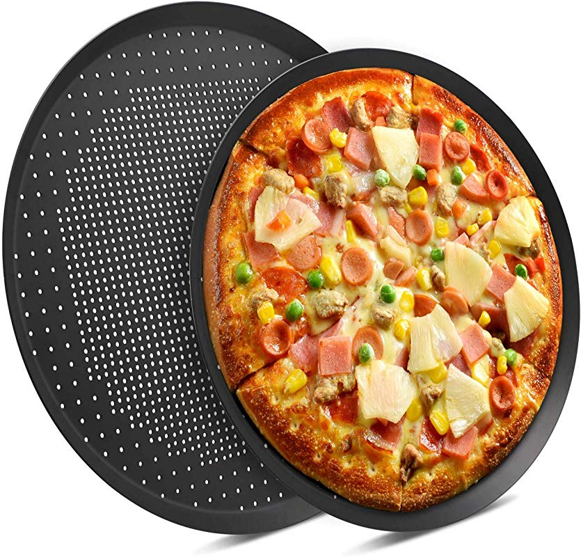 Nonstick Pizza Pans With Holes Beasea 2 Pack 14 16 Inch Pizza Crisper Pan Pizza Baking Tray Bakeware Tool Round Pizza Pans For Pie Cookie Cake