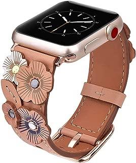 Apple Watch ile Uyumlu Bantlar-Kordonlar-Kayışlar, Çiçekli Deri Bantlar, 38mm/40mm - 42mm/44mm ve Apple Watch Seri 4/3/2/1 için uygun, Paslanmaz Çelik Tokalı Yedek Kayış-Bileklik (38mm/40mm, Bej)