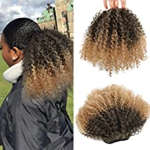 LEOSA Curly Ponytai African Hair Draw String Short Wrap Kinky Curly Hair Synthetic Ponytail Extensions