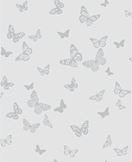 DL40573 - Glitz Room Soft Grey Butterflies Raised Print Fine Decor Wallpaper
