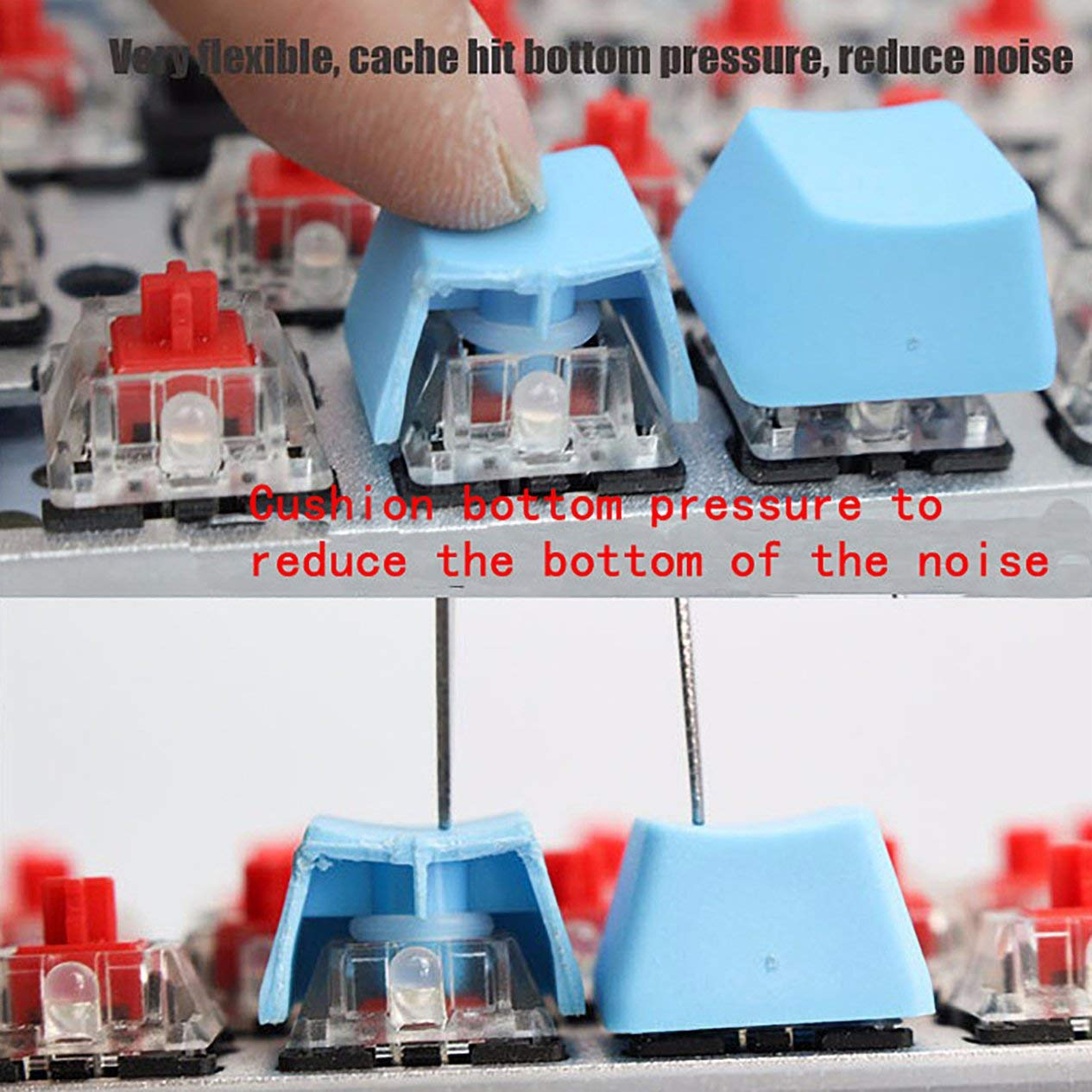 Blanco 110 Piezas Tapas de Teclas Blancas Interruptor de Goma de la Junta t/órica Amortiguadores de Sonido para Cherry MX Amortiguadores de Teclado Tapa de la Llave Junta t/órica Reemplazar